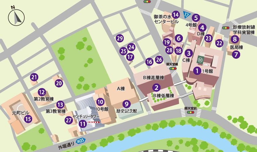 順天堂大学の学内地図